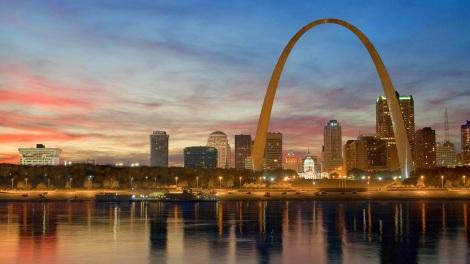 St. Louis skyline and Gateway Arch, Missouri 20140514